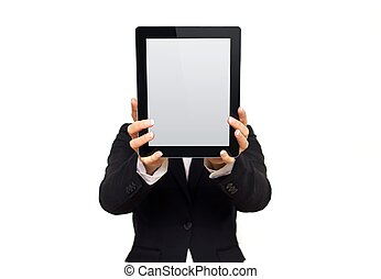Executive Showing Digital Tablet with Blank Screen