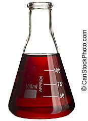 Erlenmeyer flask with red solution isolated on white.