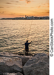Fisherman and Sunset at Sitges, Spain - Fisherman and sunset...
