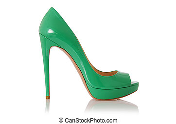 Woman green shoes isolated on white