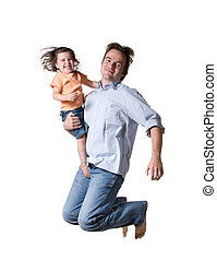 Father with daughter Full isolated studio picture