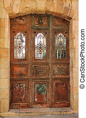 Ancient wooden gate - Armenian monastery of Saint Sauveur....