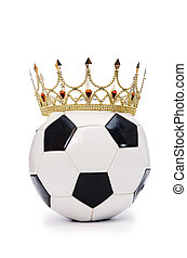 Football with crown on white