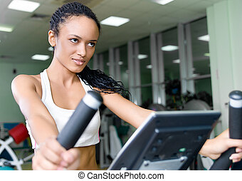 Young women at the fitness club