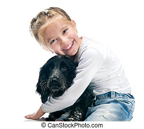 little girl with her puppy