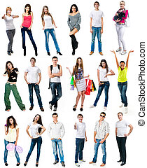 young people smiling over white background - set photos of a...