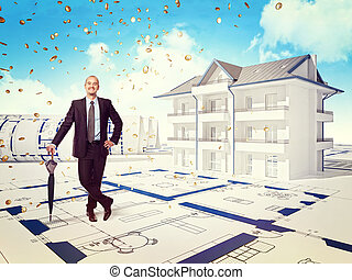 house money - smiling businessman and 3d house with money...
