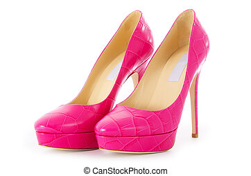 rose, élégant, blanc, chaussures, isolé