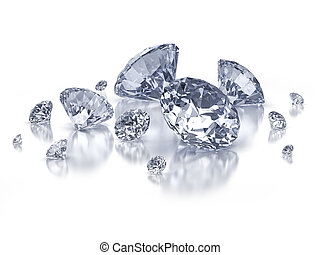 Set of diamonds on white background - isolated with clipping...