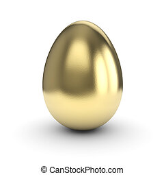 Golden Egg isolated on white bg with clipping path