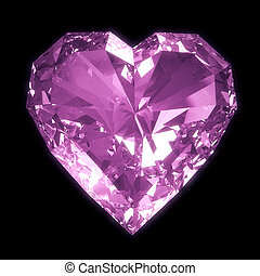 Purple diamond heart isolated on black BG with clipping path...