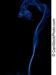 dark smoke abstract - blue smoke over black background