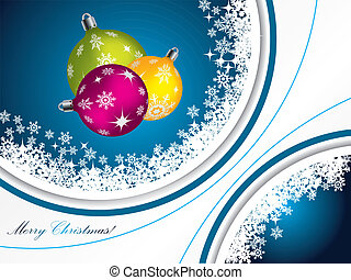 Blue christmas greeting with decorations