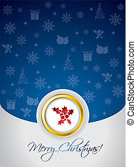 Blue christmas greeting card with golden ring in the middle