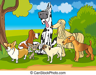 purebred dogs group cartoon illustration - Cartoon...