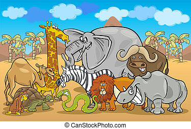 african safari wild animals cartoon illustration - Cartoon...