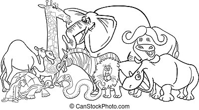 african safari animals cartoon for coloring - Black and...