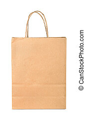 Paper bag - Brown paper shopping bag isolated on white