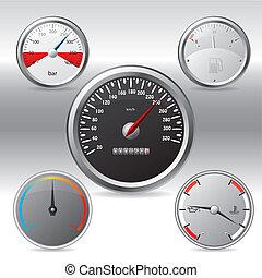 Different kinds of metallic gauges on blending background