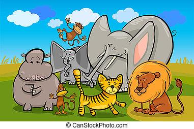 african safari wild animals cartoon illustration