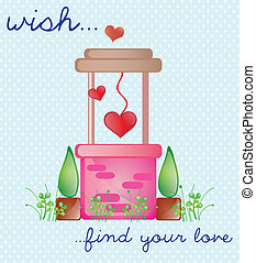 Valentines Day - Pink Wishing Well, find love Vector...