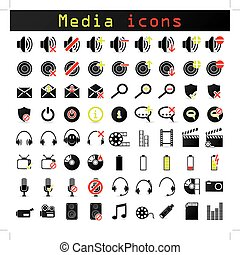 Black and color media icon set for multiple usage