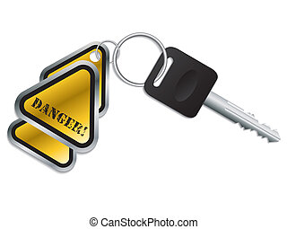 Keyholder with danger text chained to key