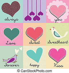 Valentines Day - Beautiful set of hearts and love messages,...