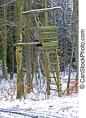 hunting stand in wintertime