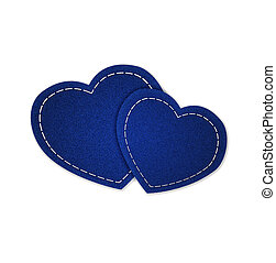 Jeans blue hearts isolated on white background