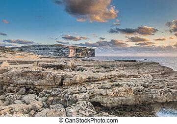 Dwajra Bay in Gozo Island, Malta. - Dwajra Bay in the...