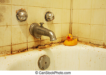 Dirty Bath V - A filthy bathtub with mold and stains and...