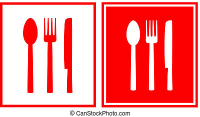 red restaurant sign with spoon - set of two red restaurant...