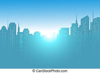 city background with sunrise