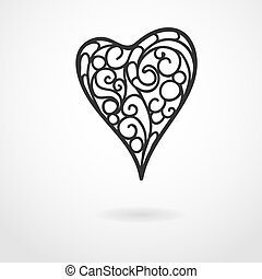 Vector background on Valentine's Day with doodle heart
