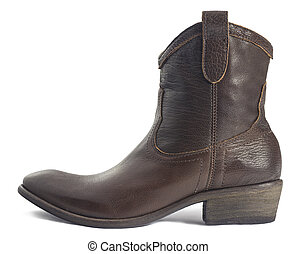 Brown Leather Cowboy Boot isolated on White - Close-up of a...