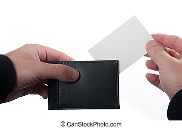 card and wallet - inserting a business card into a wallet