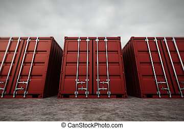 Cargo containers. - Picture of red containers in the row.