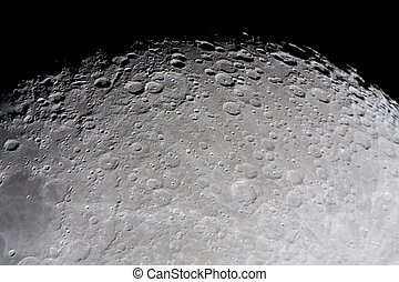craters - picture of the moon surface by telescope. This...