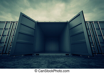 Cargo containers. - Picture of grey open containers in the...