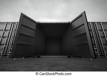 Cargo containers. - Picture of black open containers in the...