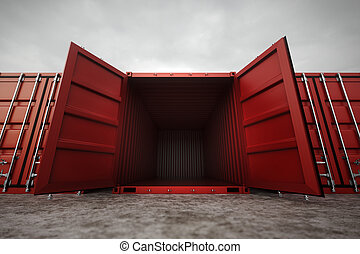 Cargo containers. - Picture of red open containers in the...