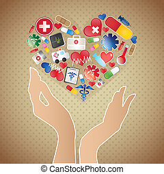 Medical Vector - Medical objects icons heart on vintage...