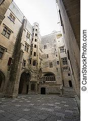 Inside yard of Tarascone Castle in France
