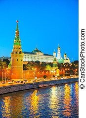 Overview of downtown Moscow at night time - Overview of...