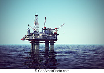 Oil platform on sea - Image of oil platform while cloudless...