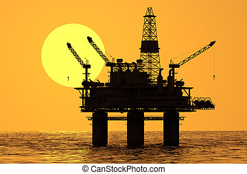 Oil platform on sea - Image of oil platform during sunset...