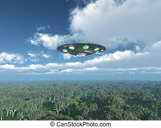 Alien Spacecraft over the jungle - Computer generated 3D...