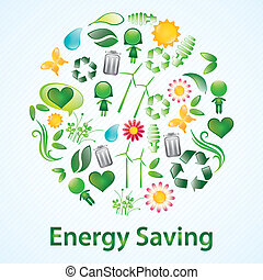 Energy Saving beautiful glossy icons. Vector illustration