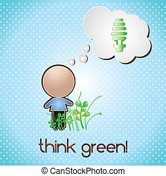 Energy Saving - Thing green, energy saving on blue...
